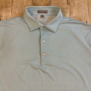 Peter Millar Summer Comfort Blue Gingham Polo Shirt Large Prairie Dunes Golf