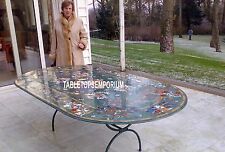 8'x4' Green Marble Dining Table With Stand Pietradura Home Decor Marquetry Arts
