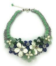 "Handmade 17"" Collar Necklace Pearl-Shell & Crystal Nature  Aventurine  #002"