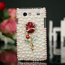 Samsung Galaxy S Advance i9070, FUNDA RÍGIDA, FUNDA perlas pedrería, funda protectora, estuche, 3d Rose