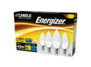4 x 6W=40W ENERGIZER LED CANDLE BULB 470LM OPAL SES E14 WARM WHITE