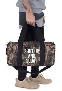 Shut Up And Squat Barrel Gym Bag Duffel Fitness Slogan Yoga Weightlifting MMA