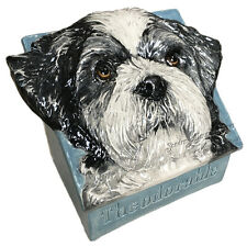 Custom Dog Urn ANIMAL ART Ceramic Memory box Handmade by Sondra Alexander Art