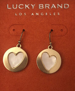 Lucky Brand Round Silver Tone Drop/Dangly Earrings With Heart Mother Of Pearl