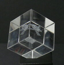 "SOLID GLASS CUBE <> 1-1/2"" CUBE > WITH ANGLE CORNER EDGE > EMBEDDED DESIGNS"
