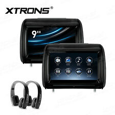 "2x 9"" Car Monitor Headrest DVD Video Player Adjustable Touch Screen +2 Headphone"