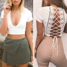 Womens Hot Sexy V Neck Lace Up Back Short Sleeve Cropped Top Shirt Blouse White