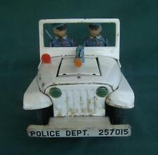 VINTAGE JAPAN JAPENESE TIN LITHO POLICE DEPARTMENT JEEP TOY BATTERY OPERATED