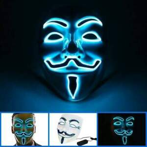 Light up Anonymous Masks Halloween Glow Mask LED Costume Purge Party Masks Cospl