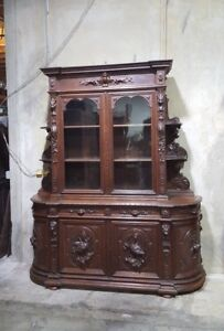 Monumental Carved Antique French Renaissance Hunt Cabinet Buffet