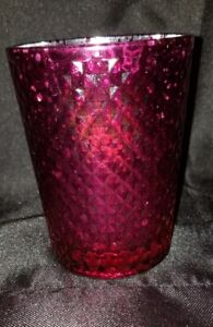 Candle holder pink glass tea light shiny light cup home decor jar container