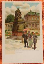 30973 Litho AK DRESDEN Denkmal Friedrich August I. im Zwinger PAUL HEY um 1900