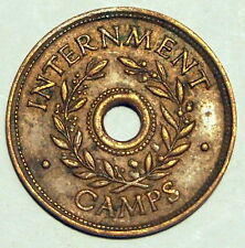 Internment Camp Token - WWII - Shilling - gVF - good Very Fine Condition