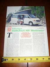 VW VOLKSWAGEN EUROVAN MV WEEKENDER  - ORIGINAL 1993 ARTICLE