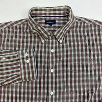 Croft & Barrow Button Up Shirt Men's 2XL XXL Long Sleeve Multicolor Plaid Casual