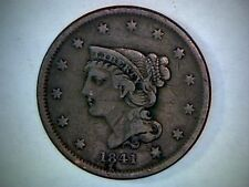 1841 BRAIDED HAIR  UNITED STATES LARGE CENT, 175 YEAR OLD COPPER CENT.