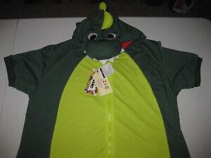 Sazac Green Dinosaur Kigurumi - Adult Costume - Medium Short Sleeve & Leg Summer