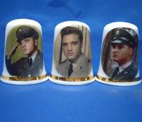 Birchcroft China Thimbles -- Set of Three -- Elvis Presley Military Service