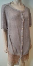 MISSONI Orange Label Silver Metallic Silk Blend Long Length Cardigan Top Sz:M