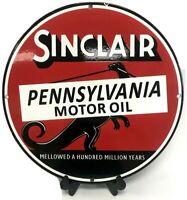 VTG Sinclair Pennsylvania Motor Oil Advertising Porcelain Gas Pump Plate Sign
