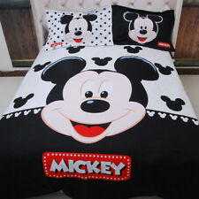 Cartoon Mickey Mouse Quilt/Doona/Duvet Covers Queen Size Bed Linen Cover Set New