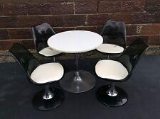 Vintage LUCITE 4 - 360 Turn Chairs / Table Mid-Century Dinning Set - Good