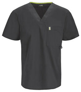 Scrubs Code Happy Men's V-Neck Top 16600A PWCH Pewter Free Shipping