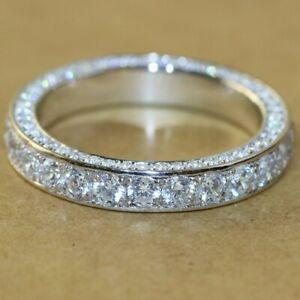 FULL MICRO PAVE WEDDING WOMENS ANNIVERSARY LAB DIAMOND SOLID BAND RING