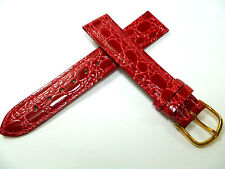 18 mm Rosso Cinturino Orologio Lavorazione a Coccodrillo pelle 1891