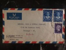 1949 Batavia Netherlands Indies Airmail Cover To Bell & Howell Chicago IL USA