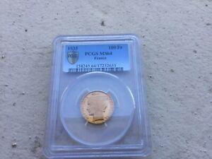 100 Francs Or Bazor 1935 MS64