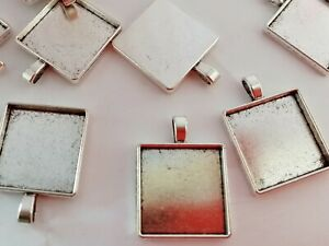 """Square Pendant Trays Bezel Settings fits 25mm (1"""") Cabochons Bronze or Silver"""
