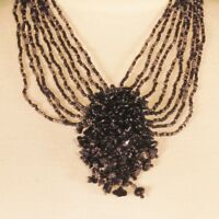 "16"" Black Silver Gemstone Chip Cluster Handmade Seed Bead Bali Necklace"
