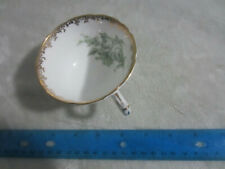 Aynsley Unidentified Teapcut Green Floral w/ Gold Trim White Cup