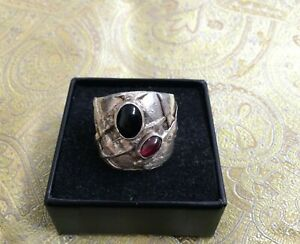 Vintage Daniel Brunovsky sterling silver ring with onyx and amethyst, sz 7