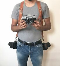 Dual Multi Camera Tan Real Leather Harness Shoulder Strap Handmade in England