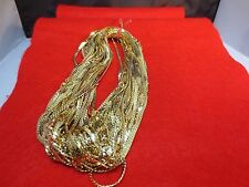 WHOLESALE LOT OF 5 14KT GOLD PLATED 16 INCH 2.5MM HERRINGBONE CHAIN NECKLACE