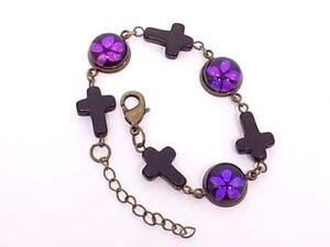 """Handmade Wood Cross Purple Flower Dichroic Glass Bronze 9"""" Bracelet, Gift Boxed"""