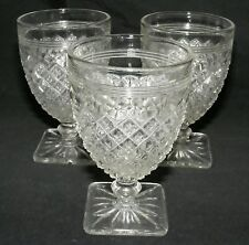 Hocking Miss America Crystal 3 Wine Goblets Depression Glass