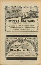 ADVERT Burgundy Vineyard Wine Moulin a Vent Robert Gargaud Charut Freres Label