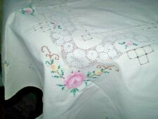 Beautiful hand embroidered  tablecloth  SIZE  60 ' /42 ''100% Cotton   White
