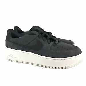 Nike Air Force 1 Sage Low Suede Shoes Grey White AR5339-001 Womens Size 9