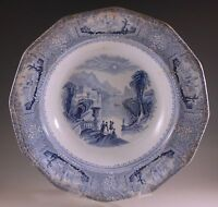 c.1848 WEDGWOOD COLUMBIA WELL TYPE LARGE 10.3/4  BOWL BLUE TRANSFERWARE, BURSLEM