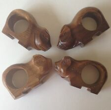 Carved Wood Pig Napkin Rings Piggy Set of 4 Made In Phillipines