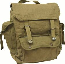 Highlander Large Pocketed Web Backpack Hiking Cotton Bag Canvas Rucksack Olive