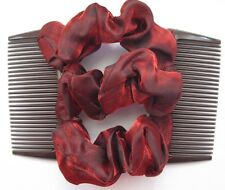 dark red satin fabric material double elastic stretch hair comb bun maker