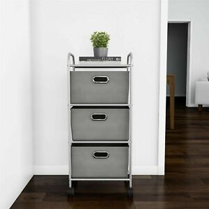 3 Drawer Storage Cart Wheels Bins Towels Clothes Crafts Portable Apt Home
