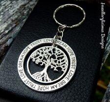 Beautiful Silver Love Dream Hope Trust Tree Of Life Sentiment Keyring Key Ring