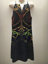 Donna Morgan Navy Olive Gold Rust Brown Sleeveless Dress Size US 14 Fit AU 14 16
