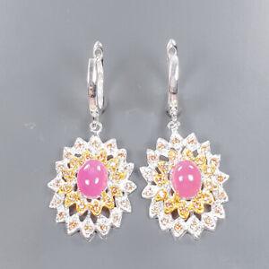Fashion Art Earrings Ruby Earrings Silver 925 Sterling   /E57537